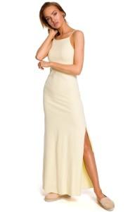 e5178b80044bf4 Bawełniana sukienka maxi jasnożółta M432