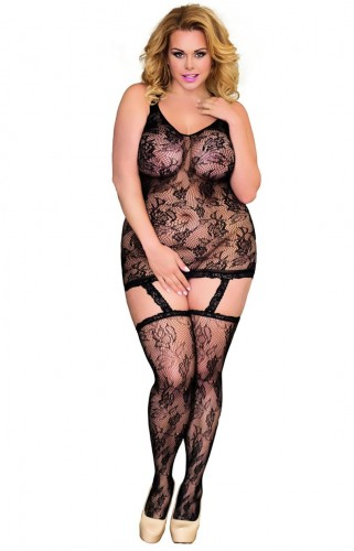 Ażurowe czarne bodystocking plus size Crazy