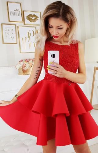 da1fad6ffb227d Czerwona sukienka z falbanami 2175-02 - Bicotone odzież damska ...