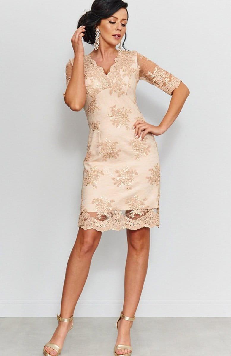 00e61465c85106 Beżowa koronkowa sukienka Roco 153; Beżowa koronkowa sukienka Roco 153-1