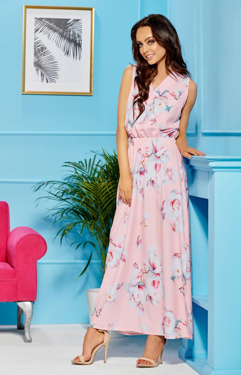 Lemoniade L304 długa sukienka w kwiaty różowe